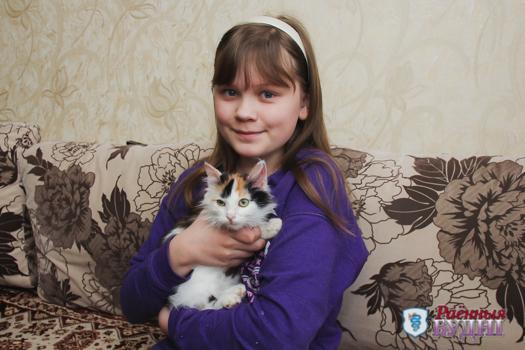 Маленькая девочка с большим сердцем. Пятиклассница отвоевала у собак котенка и вылечила его