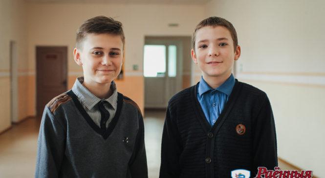 Восьмиклассники Ровбицкой школы Денис Гречишко и Виталий Хомич  соревнуются и побеждают